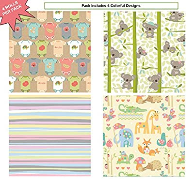 """Premium Baby Shower Gift Wrap Heavy Weight Gloss Finish Wrapping Paper for Girl, Boy Couple 4 Different Designs of 5ft X 30"""" Rolls / Per Pack Set Included!"""