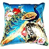 Aaiye Ghar Sajaiye Polyster Cushion Cover With Digital Peacock Pattern- Set Of 5, Multi _(16 X 16 Inch)