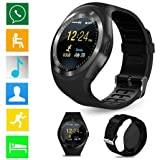 Y1 Creazy 2018 Bluetooth Smart Watch Phone Mate Full Round Screen SIM For Android For IOS (black) (Color: black, Tamaño: 53.0x44.8x12.95mm)