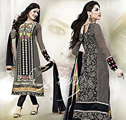 Aayushman Womens Faux Georgette Anarkali Semi-Stitched Dress Material (Fdh01 _Black And Grey)
