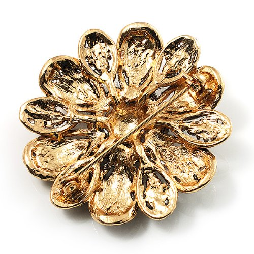 Vintage Swarovski Crystal Floral Brooch (Antique Gold) 4