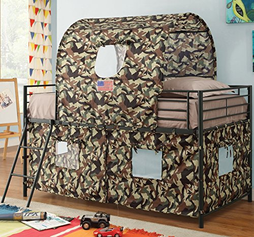 G.I. Twin Loft Bed for Boys – Durable Metal Frame in Glossy Black Finish with Guard Rails and Ladder – Army Camouflage Tent Mesh Covering with Window Flaps for Fun and Games – Extra Space Below Bed