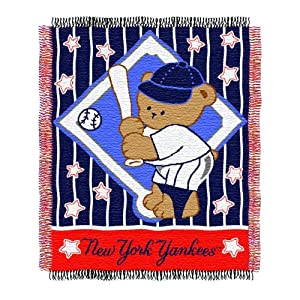 Northwest MLB New York Yankees 36-Inch-by-46-Inch Woven Jacquard Baby Throw at Sears.com