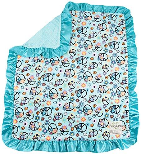 """My Blankee Peace Flower Minky Aqua w/ Minky Dot Topaz Baby Blanket, 30"""" x 35"""""""