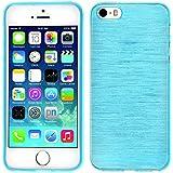 PhoneNatic Apple iPhone 5 / 5s Hülle Silikon blau brushed Case iPhone 5 / 5s Tasche + Schutzfolien