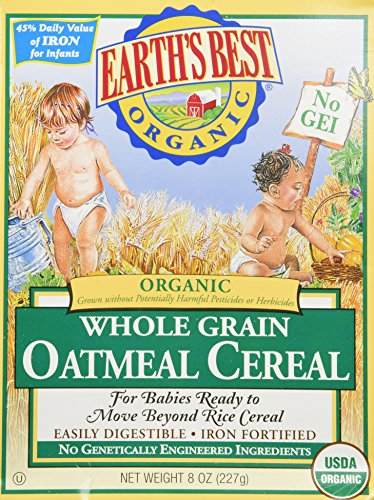Earth's Best Organic Whole Grain Rice Cereal & Whole Grain Oatmeal Cereal (One 8oz Box of Each)