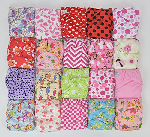 20 Pack Pocket Cloth Diapers with 40 Inserts (2 Inserts Per Diaper)-girl Pack