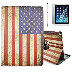 iPad Pro Case, Gift-Hero(TM) 360 Rotating Stand Folio Leather Cover Cases for Apple iPad Pro 12.9 inch (US Flag)