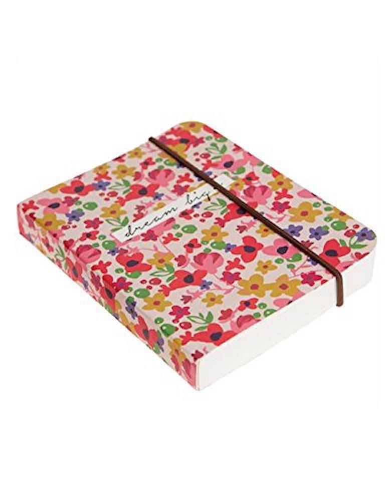 Caroline Gardner Ditsy Floral Print Small Chunky Elastic Closure Notebook