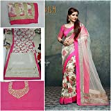 kenil fabrics pink georgette designer collection women's partywear saree with designer blouse