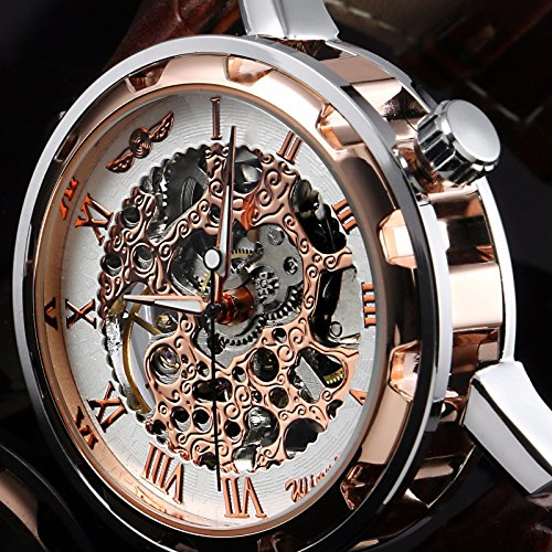 Men's Gold Skeleton Leather Band Analog Wrist Mechanical Stainless Steel Watch (Omega Skeleton compare prices)