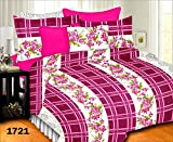 Prisha Cotton Pink Royal Double Bed Sheet With 2 Pillow Covers