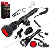 SKYBEN Klarus XT30R Hunting Kit CREE XHP35 HI D4 LED 1800 Lumens 18650 Rechargeable Hunting Flashlight with Built-in Battery,Rail Mount,Dual Remote Switch,Red Filter,USB Cable,Holster USB Light (Color: red)