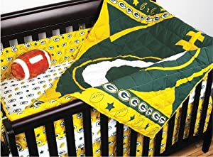NFL Green Bay Packers 4pc Football Crib Bedding Set