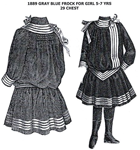 1889 Gray Blue Frock for Girl 5-7 Years