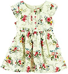 Floral Printed Cap Sleeves Casual Dress - Multi Coloured (2-3 Years)