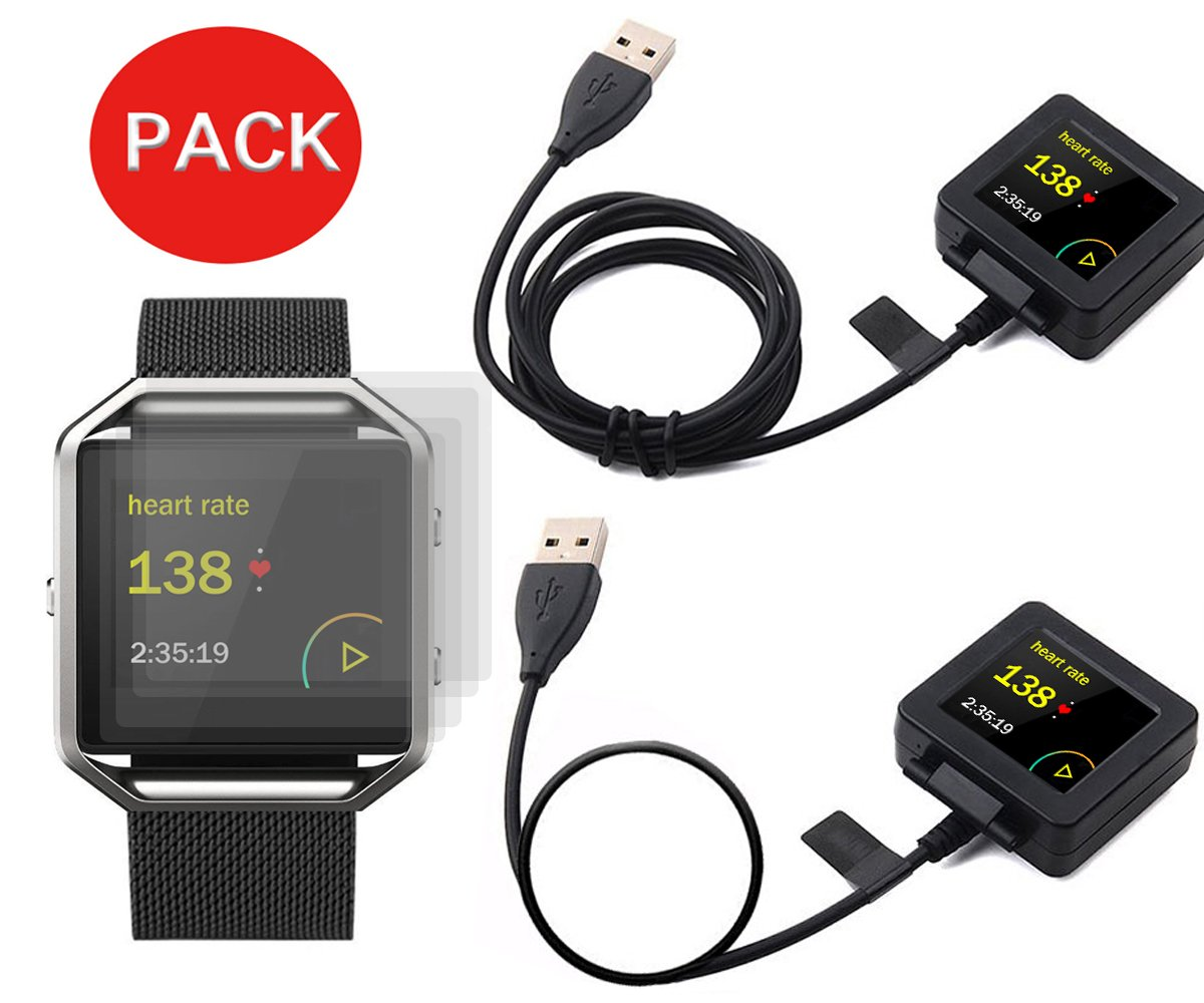 MDW 2 pcs Charger + 4 pcs Screen Protector For Fitbit Blaze - A Must Have Accessory Pack !