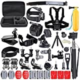 CCbetter 50-in-1 Accessories Kit for Gopro Hero 1 2 3 3+ 4 SJCAM Xiaomi Yi Action Cameras with Carring Case (Black)