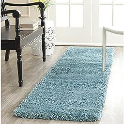 Safavieh Milan Shag Collection SG180-6060 Aqua Blue Runner, 2 feet by 6 feet (2\' x 6\')