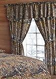 20 Lakes Woodland Hunter Camo Valance, Panels, & Tie Backs Curtain Drape Set Five Pieces (Brown)