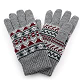 Aness (アネス) 手袋 フェアアイル柄ニット手袋 裏地フリース 保温性抜群 防寒 冷え対策 (フェアアイル柄xグレー)