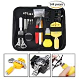 Watch Repair Kit Tools, Change Watch Battery Kit, Watch Band Tool,Watch Pins Professional Deluxe Punch Set,Watch Tools set Include Link Pin, Holder Opener, Carrying Case, Father's Day Gifts (black) (Color: Black)