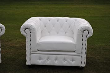 Brand New White Chesterfield Armchair - Bycast Leather - Diamante!