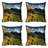 meSleep Nature 286-04 Digitally Printed Cushion Cover (16x16) - Set of 4