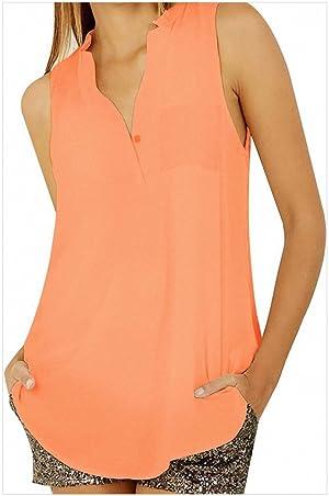 Women's Chiffon T-shirt Sexy V-neck Sleeveless Shirt Girls Loose Casual Blouse