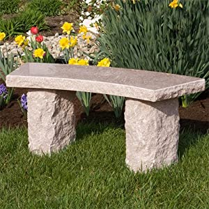 Curved Natural Granite Bench - Red Granite from Signature Hardware