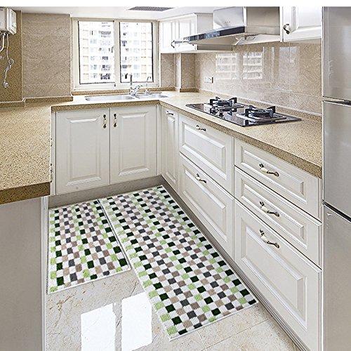"Eanpet Kitchen Rugs Sets 2 Piece Kitchen Floor Mats Non-Slip Rubber Backing Area rugs for kids Carpet Runner Rug Non-skid Kitchen Door Mats Inside Rug Pad Sets- 18""x 24"" + 18""x 47"", Green Mosaic"