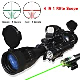 4 IN 1 AR15 Tactical 4-16x50EG Rifle Scope Red/Green Illuminated Range Finder Reticle 300M Red Laser and Multi Optical Coated Holographic Dot Sight & LED Flashlight (24Month Guarantee)