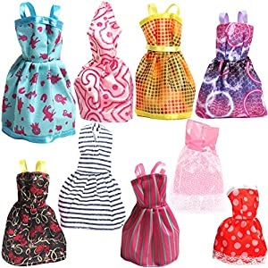 Rainbow Handmade Dresses for Barbie Doll, Pack of 9 by guangdong chenhai haixing factory