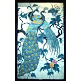 Batik Wall Hanging - Peacocks In Tree (Hand made Batik Art) - Vertical Largeby Nethara
