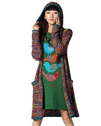 Vogueeasy Strickjacke Damen mit Kapuze Long Cardigan Strick jacke mantel  Pullover für Winter Mehrfarbig 79ab2a8819