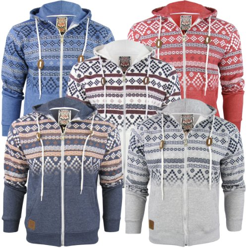Mens Tokyo Hoodie/ Hooded Aztec/ Nordic Jumper/ Sweatshirt 'Kolsva' - Claret
