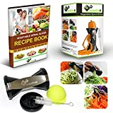 Spiralizer Best Vegetable Pasta Maker, Make Veggie Spaghetti, Zucchini Noodles, Cut Spiral Vegetables Super Easy with Sprial Slicer + Comes with FREE Silicone Can Lid + Recipe downloadable Book