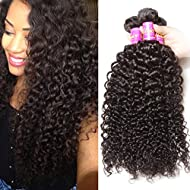 Brazilian Curly Virgin Hair Weave 3 Bundles Unprocessed Human Hair Extensions Natural Color Can Be Dyed and Bleached Tangle Free (12 14 16inches)