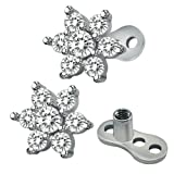 14g Flower Cubic Zirconia Dermal Anchor Tops and base Surgical Steel Microdermals Body Piercings (White) (Color: White)