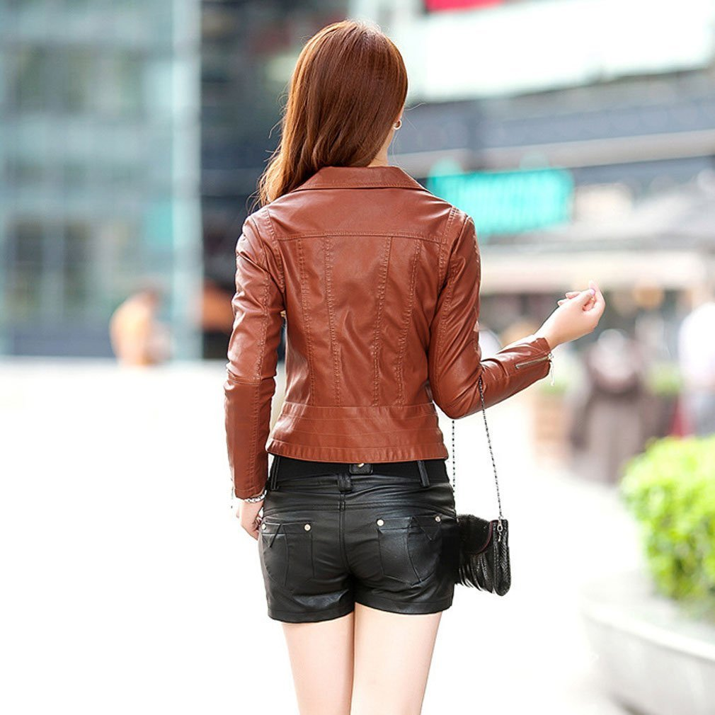 Najia Symbol Women's Black Brown Vintage Faux Leather Motorcycle Jacket Showomen-041 1
