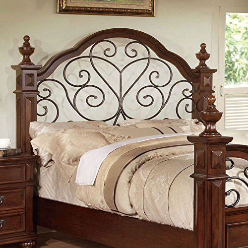 Landaluce Transitional Style Antique Dark Oak Finish Queen Size Bed Frame Set 1