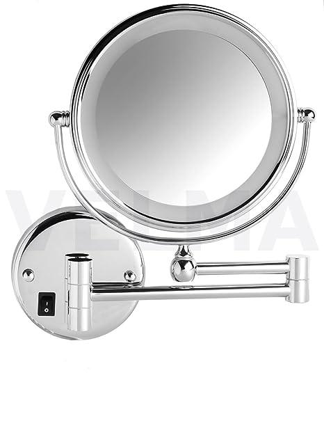 VELMA - SWITCH AROUND - LED208NC 5x - 2 in 1 - Connessione diretta! - Specchio cosmetico / Specchio ingranditore / Specchio da trucco / Specchi per radersi - LED illuminato 2 lati - Ingrandimento x5 + Grandezza normale - Orientabile - Ottone cromato lucid