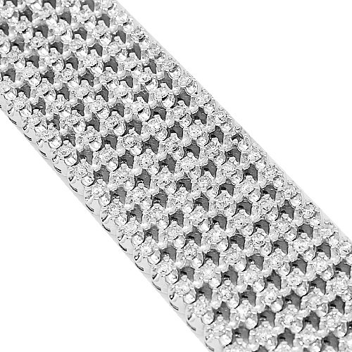 10K White Gold Womens Diamond Bracelet 15.00