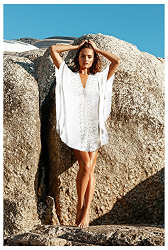 c93a0c5ab01 MG Collection® White Cotton V-Neck Front Lace Kimono Style Swimwear Cover Up