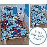 SPIDERMAN BOYS DUVET COVER - Childrens Reversible Red Blue Single Bedding Set Blue Red Single