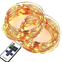Eagwell 2 Pack of 100 LEDs Super Bright Warm White LEDs String Lights with Remote on 33 Ft Long String Lights for Bedroom Xmas Decoration Light