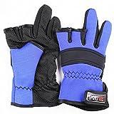 【HIROMARUjp】 フィッシング サイクリング グローブ 指 3本 出し 手袋 C ブルー