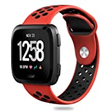 Hagibis Fitbit Versa Bands Sport Silicone Replacement Breathable Strap Bands for New Fitbit Versa Smart Fitness Watch (Red&Black) (Color: Red&Black)