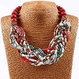Qiyun (TM) Chunky 18K Gold Coral Red Beaded Torsade Multiple Rows Twist Bib Choker Necklace