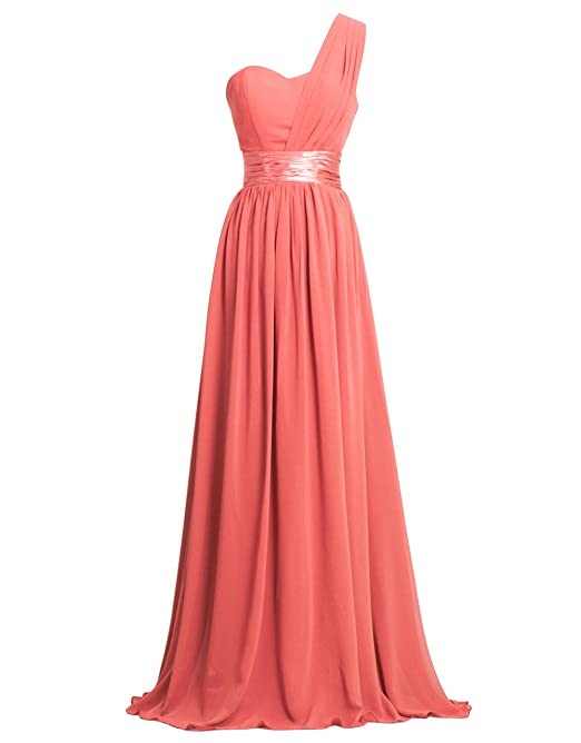 Fashion Plaza One-shoulder Chiffon Bridesmaid Formal Evening Party Dress D0126 (US10, Coral)